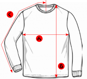 A black and white drawing of a long sleeved t-shirt with the letters A to C showing different measurements